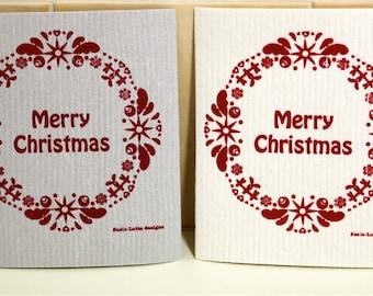 Merry Christmas wreath - hand screen printed Dish cloth