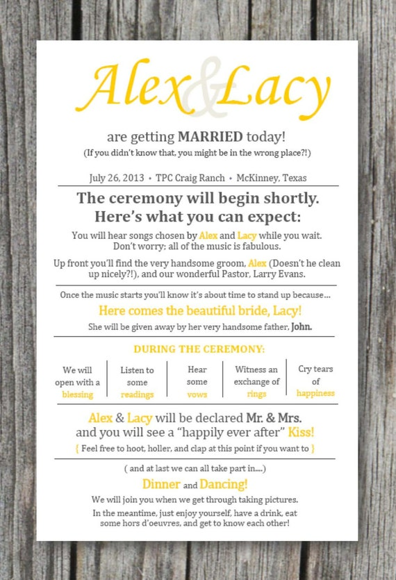 Printed Rustic Wedding Ceremony Programs By EnticingElements