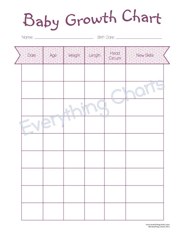 Printable Baby Growth Chart  Printable Maps