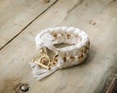 White Crochet and Gold Chain Bracelet with Toggle Closure