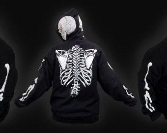 SCORN SKELETON HOODIE - goth undead pullover halloween christmas bones