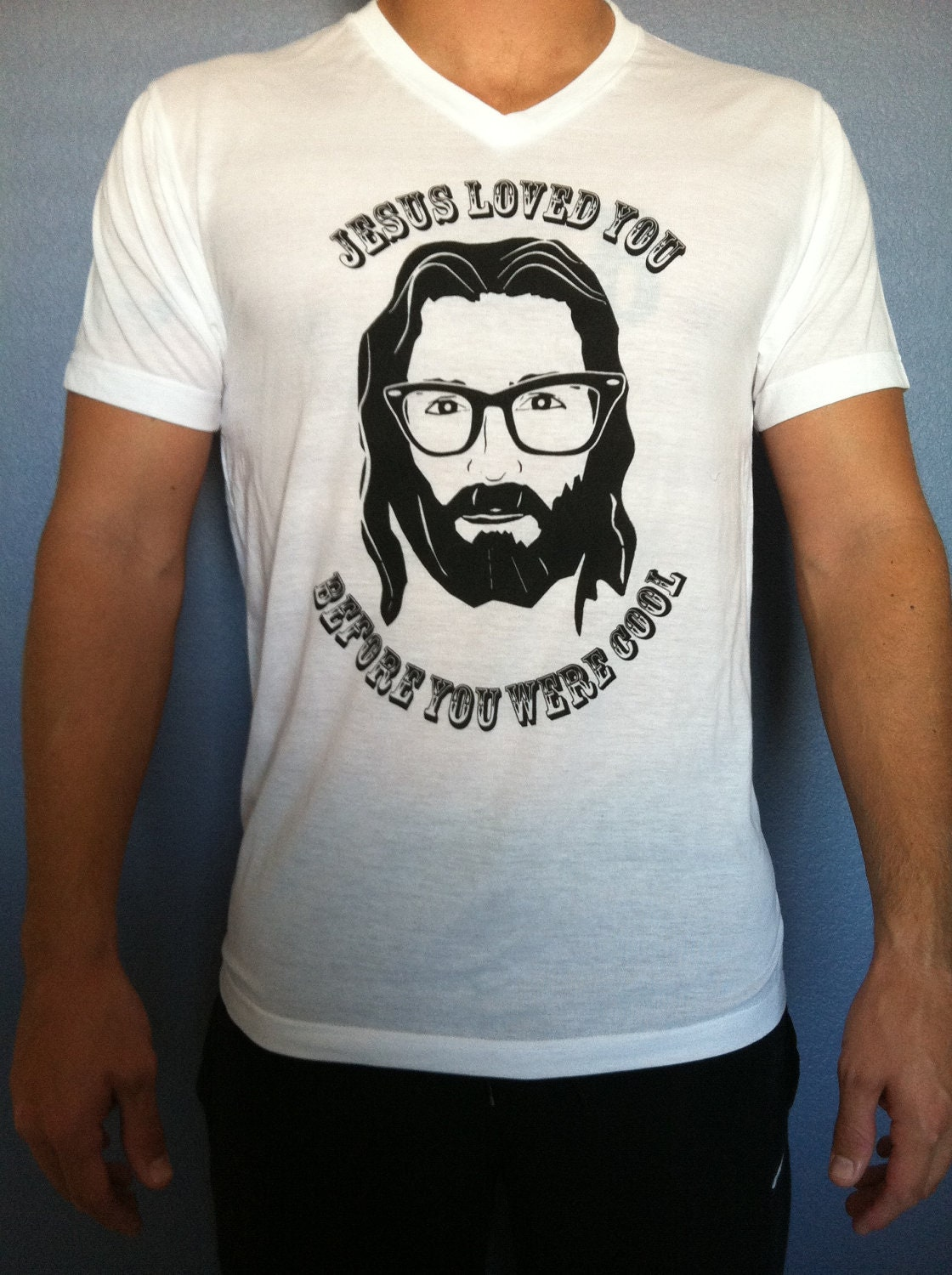 L Hipster Jesus T Shirt By Jesusthreads On Etsy