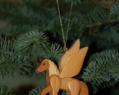 PEGASUS CHRISTMAS ORNAMENT Carving.  A wonderful unique, whimsical ornament for your holiday tree.