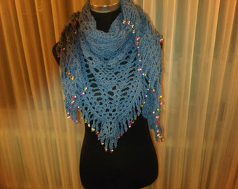 Blue shawl with colored beads