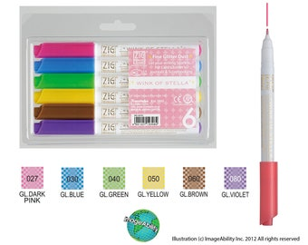 6 Glitter Pens Zig Memory System Wink Of Stella Glitter Markers 6 Marker Kit Different Colors
