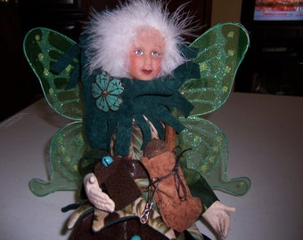 Collectible Handmade Art Doll - Handsewn Handpainted Fae Fairy Doll in Green Hues