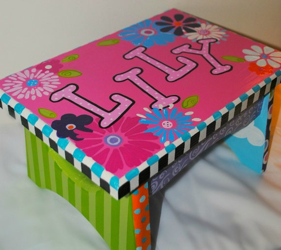 Painted Stool Child S Foot Stool Personalized Stool