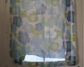 SALE - 60s Blue and Green Sheer Floral Curtains