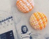 "VINTAGE FABRIC Candy Drop Button Earrings ""Mango Lassi"""