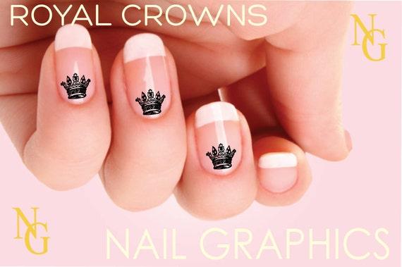 - Items Similar To Crown Nail DecaL Princess Crown Nail Design On Etsy