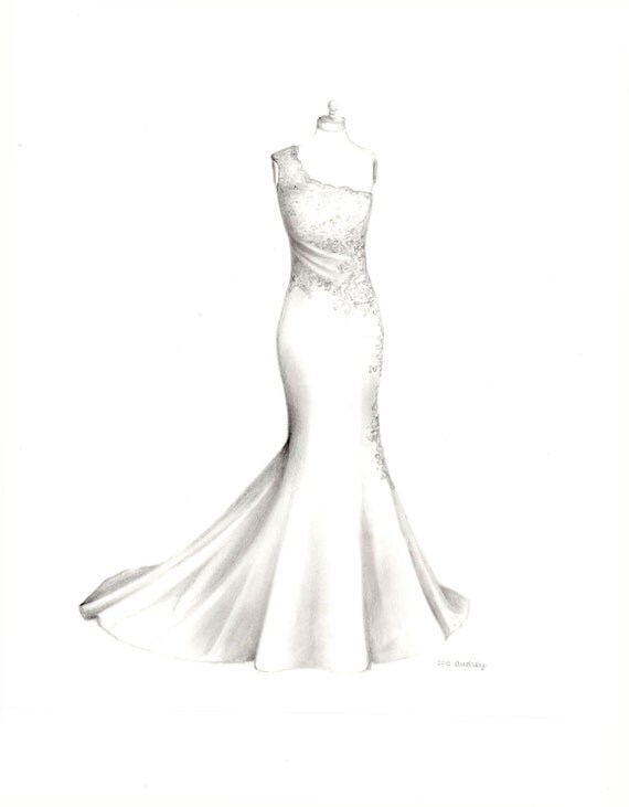 For courtney custom wedding dress drawing for How to draw a wedding dress