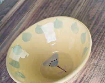 Yellow hand painted cereal / soup bowl