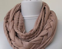 Pale Dusty Rose Loop Scarf - Infinity Jersey Scarf - Partially braided Circle Scarf - Scarf Nekclace