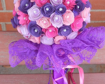 Large Custom Handmade Paper Wedding Bouquet Bride or Bridesmaids Bouquet ANY COLORS