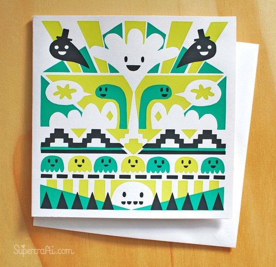 Monster Cabaret screen printed greetings card