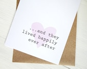Happily ever after wedding gift card pink heart love anniversary - AvenirCards