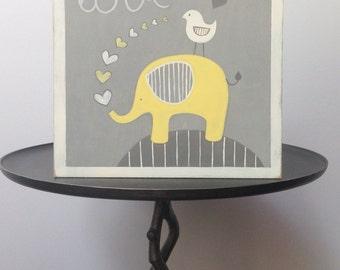 Yellow Elephant Nursery Wall Art   Yellow And Gray Nursery Art   Baby  Elephant   Baby