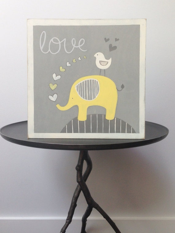 yellow elephant nursery wall art yellow and gray nursery art. Black Bedroom Furniture Sets. Home Design Ideas