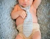 Crochet Necktie and Diaper Cover Set Photo Prop