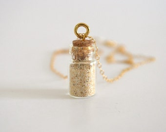 Tiny Bottled Genuine Lanikai Sand Charm Necklace, Gold Filled Chain, Sterling Silver Available