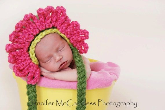 Crochet Baby Zinnia Earflap Hat Pattern, PDF 101, Baby Hat Pattern, Crochet Baby Pattern, Flower Hat Pattern, Digital Download