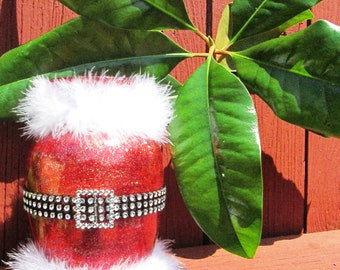 Santa Claus Vase - Painted and Glittered Handmade Glass Vase -  Handmade Holiday Decor in Red -  Christmas Decoration - Santa Room Decor