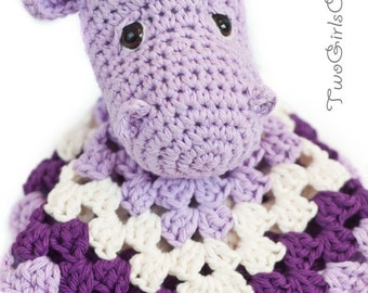 Hippo Crochet Security Blanket - Hippo Lovey - Baby Snuggle Blanket - Made To Order