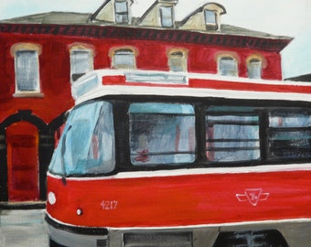 Toronto Street Car Nr. 2 - Giclée print of original acrylic painting, red, reflections on glass