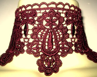 Steampunk jewelry burgundy red lace choker detachable collar necklace and cuff bracelet
