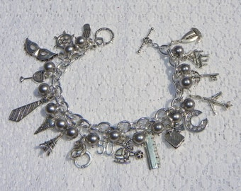 Beaded 50 Shades Of Grey Inspired Charm Bracelet