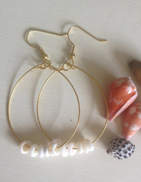 Gold Plated Wire Earrings, Puka Shells, Puka Shell Earrings, Shell Earrings, Hawaiian Earrings, Hawaiian Shell Earrings