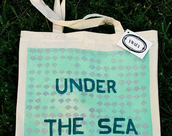 "turquoise ""Under The Sea"" Tote bag"