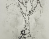 Sitting By My Tree -  Original Charcoal Illustration - 19 x 11