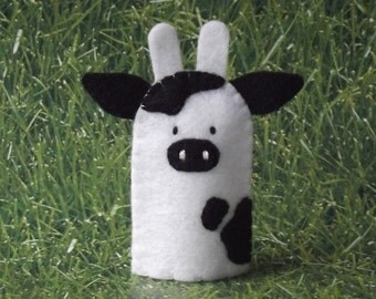 Cow Finger Puppet - Select White or Black - Felt Cow Finger Puppet - Farm Animal Puppet Cow - Felt Animal Finger Puppet Bovine
