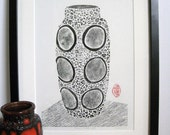 COLLOGRAPH PRINT - Fat Lava Vase -Black & White West German Vase - Mid Century Modern Print 9x13 - Ready to Ship