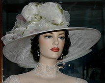 "Kentucky Derby Hat Edwardian Hat Downton Abbey Hat, Titanic Hat  ""Kentucky Morning"" White and Green Ascot Hat"