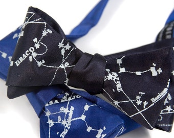 Constellation bow tie. Milky Way galaxy, star chart freestyle tie. Ice blue print. Your choice of bow tie colors. Freestyle & adjustable.