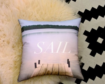 SAIL - Dock on the Lake Landscape Printed Fabric Decorative Pillow
