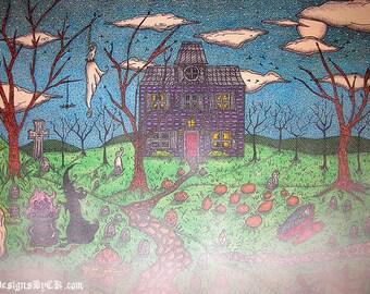 Foggy Halloween Haunted House - Painting