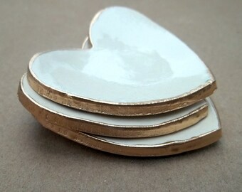 Ceramic Off White Heart Ring Bowls edged in gold itty bitty Baby shower bridal shower