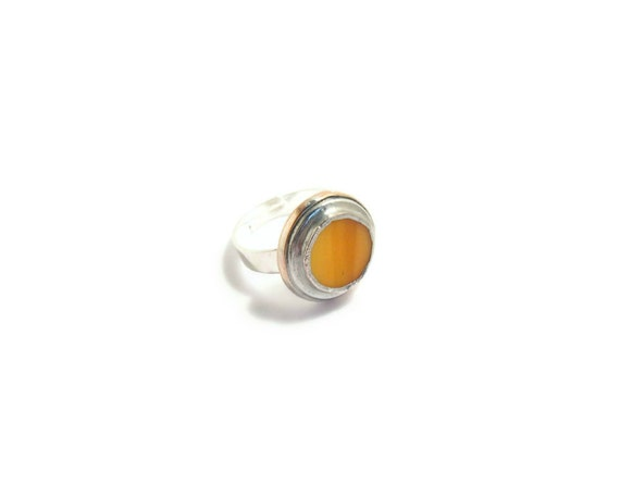 Yellow Ring Adjustable in Stained Glass