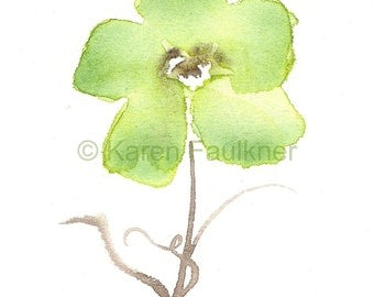 "Watercolor art print of pale green flower: ""Woodland Flower"""