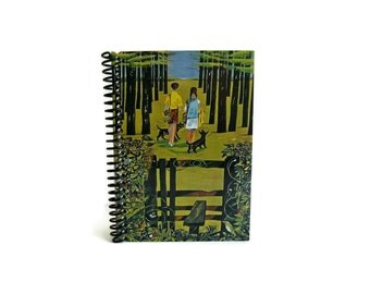 Country Walks Blank Sketchbook, Pocket Writing Journal Diary Spiral Bound, 4x6 Inches, Mid Century Modern, Back to School Notebook Cute