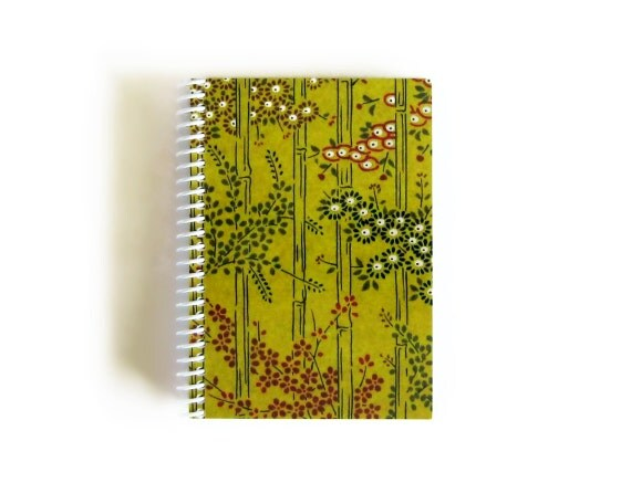 Bamboo Spiral Notebook, Blank, Draft, Spiral Bound Writing Journal, Pocket, Back to School Sketchbook, 4x6 Inches Diary, Cute Gifts Under 15