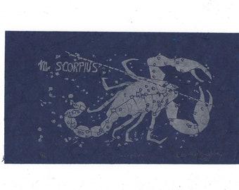 Scorpius Constellation Linocut in Silver on Blue - Constellations of the Zodiac Collection - Scopio Lino Block Print