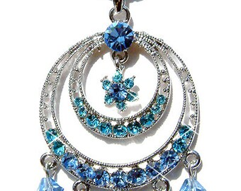 Blue w Swarovski Crystal Circle of Love Flower Floral Bridal Wedding jewelry pendant Necklace Christmas Gift New