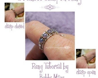 Montee Ring With a Clasp Pattern, Wire Wrap Ring Pattern, DIY Ring Pattern, Clasp Ring Wire Wrap Instructions, 5 Free Button Montees Limited