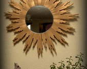 Large Chic Golden Sunburst Mirror Hand Made Wall Hanging
