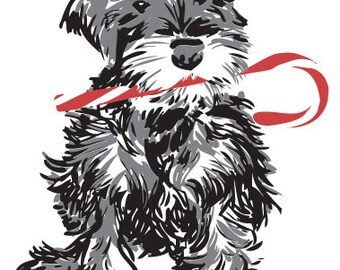 Schnauzer with Candy Cane-- Holiday Letterpressed Card Set of 5