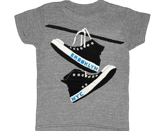 KIDS Brooklyn Converse - Childrens T-shirt Tee Shirt Indie Hipster Toddler Youth Chuck Taylor Shoes BK NYC New York Twins nyc Gray Tshirt